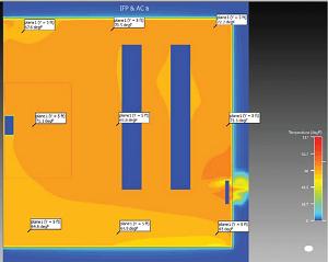 ceviri sekil 2 Çalışan hava perdesi ve 2,5 milyon Btuh ısı girdisi oranı ile yatay sıcaklık profili