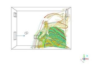 Sekil 2b. Pencereden basinc farkı ile hava girmesi durumunda havada asili damlaciklarin dagilimi