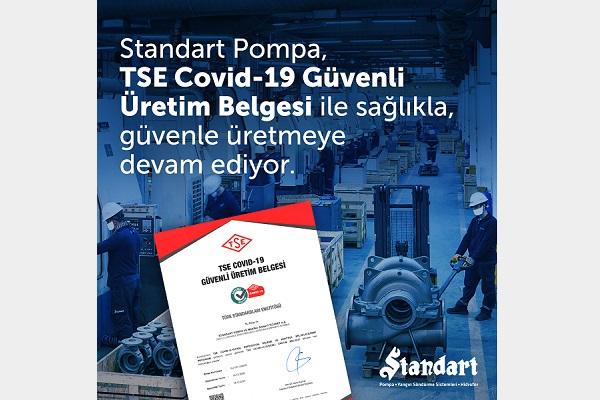 """Standart Pompa, """"TSE COVID-19 Güvenli Üretim Belgesi"""" Aldı"""